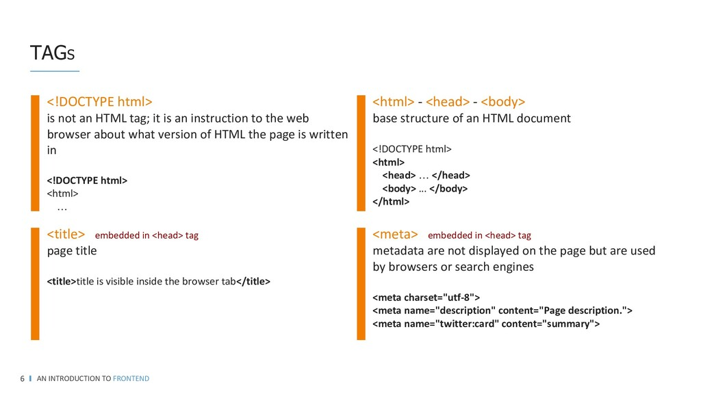 TAGS AN INTRODUCTION TO FRONTEND 6 <html> - <he...