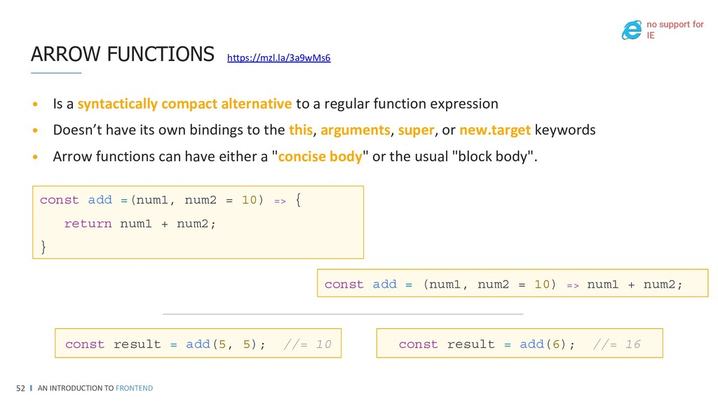 AN INTRODUCTION TO FRONTEND 52 REFERENCES • MDN...