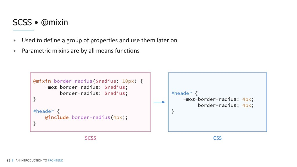 AN INTRODUCTION TO FRONTEND 86