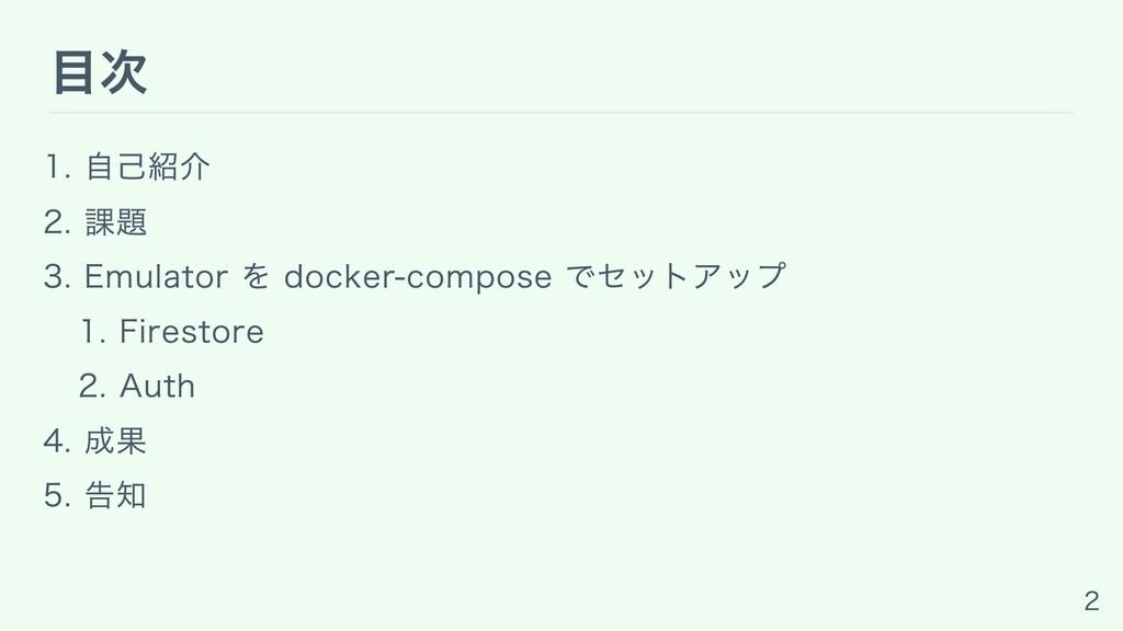 ⽬次 1. ⾃⼰紹介 2. 課題 3. Emulator を docker-compose で...