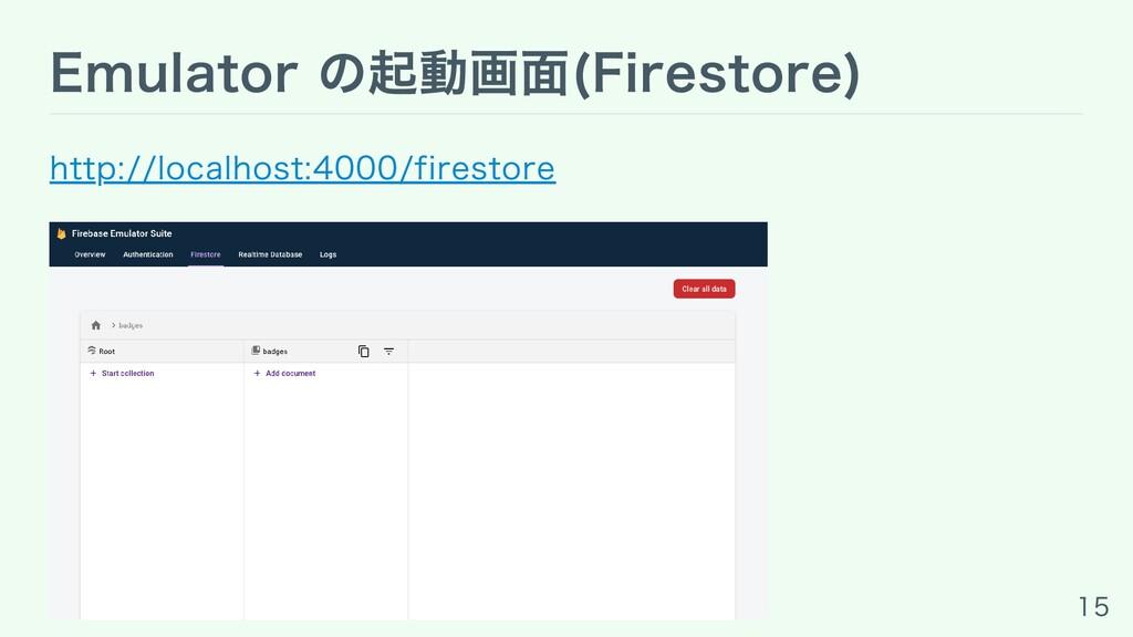 Emulator の起動画⾯(Firestore) http://localhost:4000...