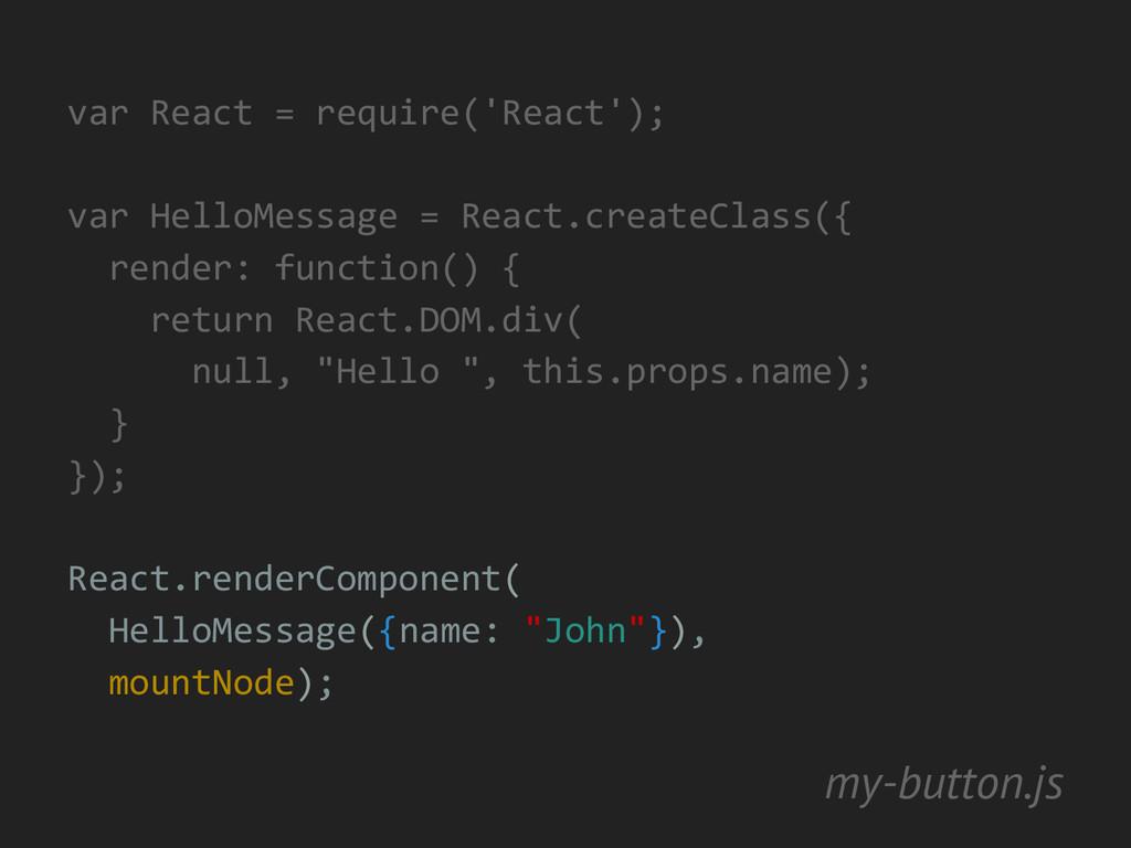 var React = require('React'); var HelloMessage ...