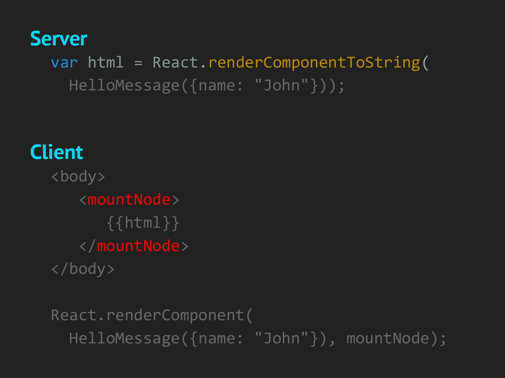 var html = React.renderComponentToString( Hello...