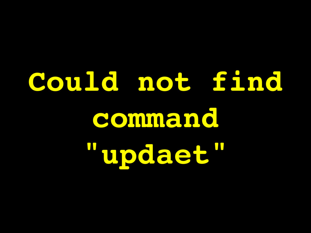 "Could not find command ""updaet"""