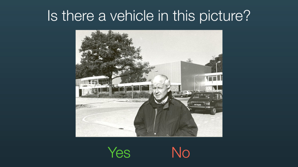 Yes No Is there a vehicle in this picture?