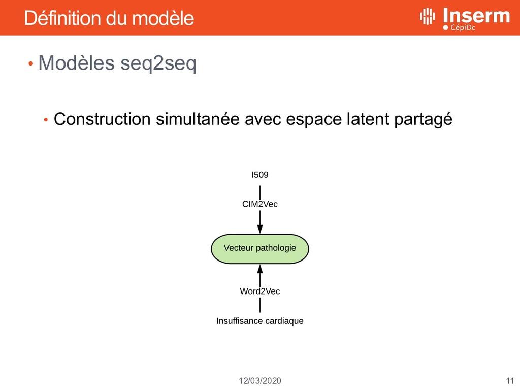 11 12/03/2020 Définition du modèle • Modèles se...