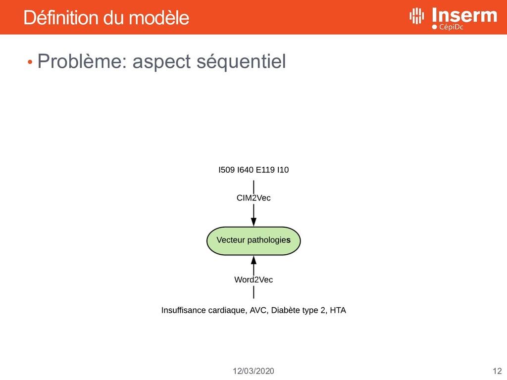12 12/03/2020 Définition du modèle • Problème: ...