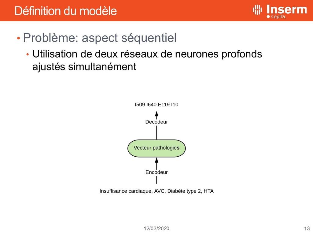 13 12/03/2020 Définition du modèle • Problème: ...