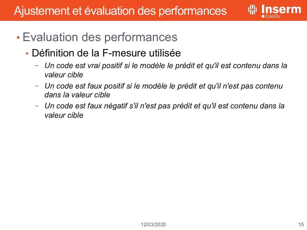 15 12/03/2020 Ajustement et évaluation des perf...