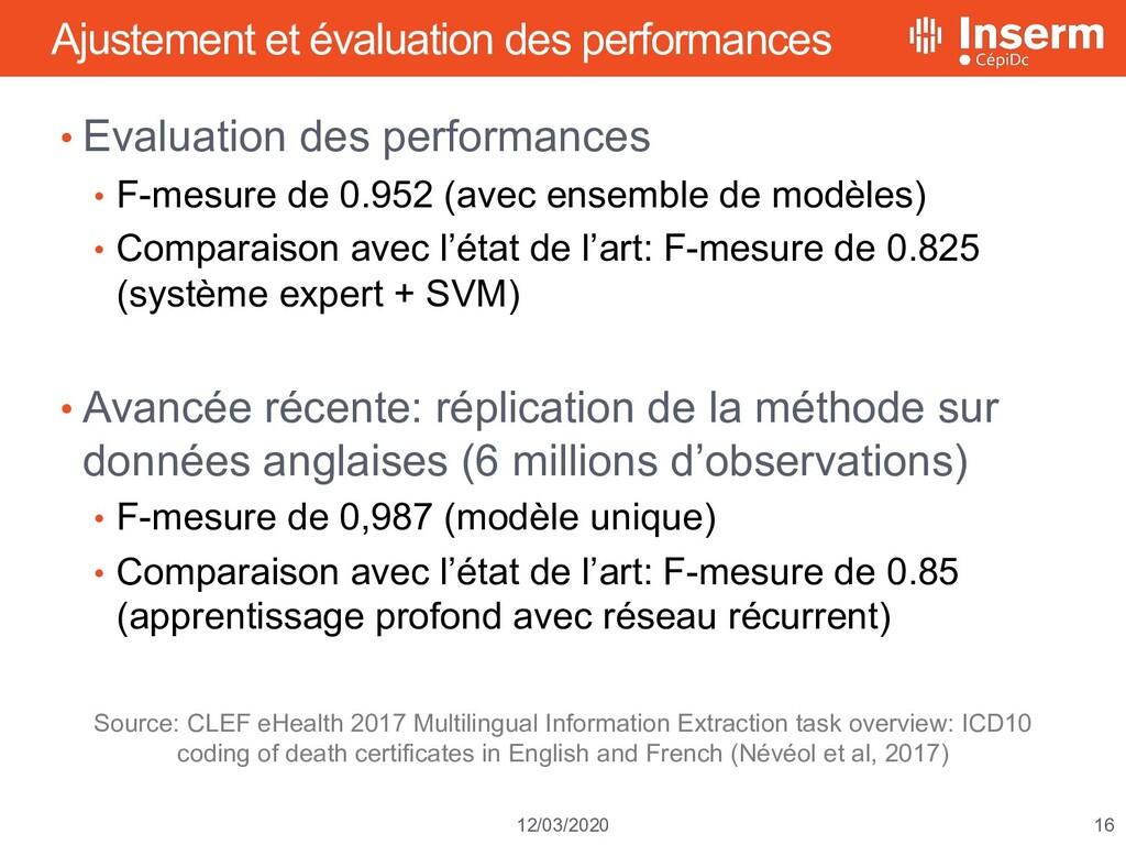 16 12/03/2020 Ajustement et évaluation des perf...