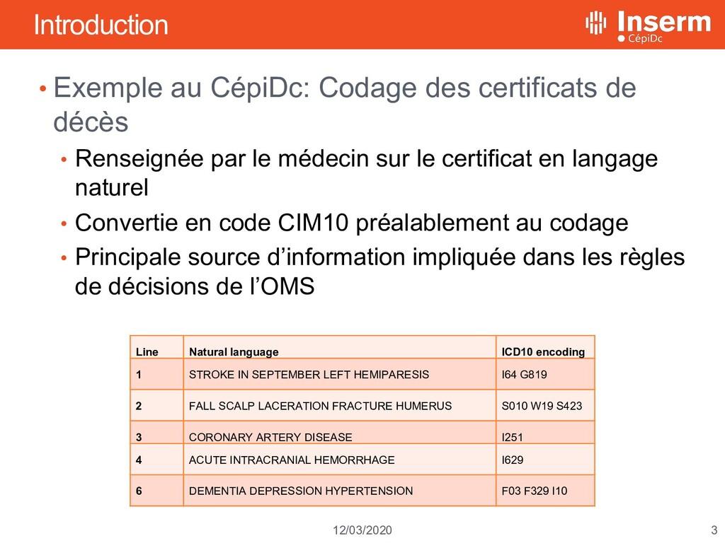 3 12/03/2020 Introduction • Exemple au CépiDc: ...