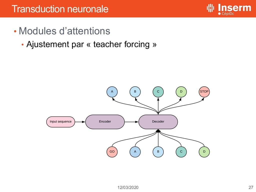 27 12/03/2020 Transduction neuronale • Modules ...