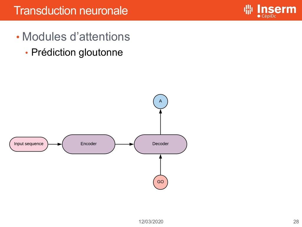 28 12/03/2020 Transduction neuronale • Modules ...
