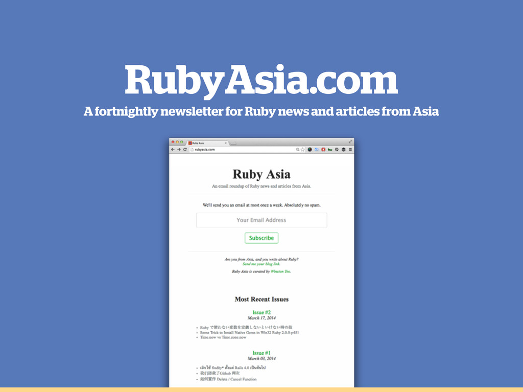 RubyAsia.com A fortnightly newsletter for Ruby ...