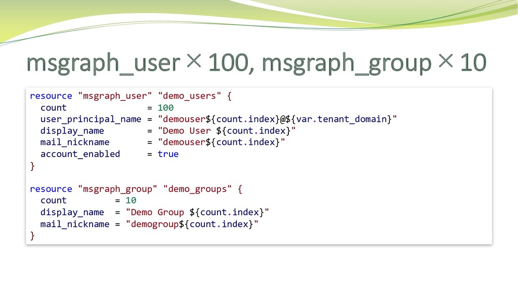 """msgraph_user×100, msgraph_group×10 resource """"ms..."""