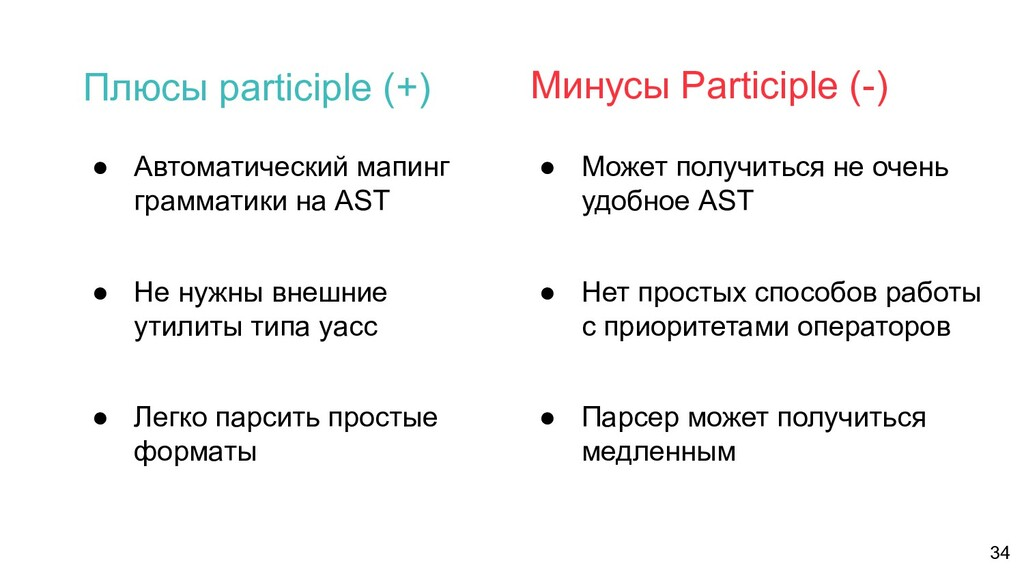 ● Автоматический мапинг грамматики на AST ● Не ...