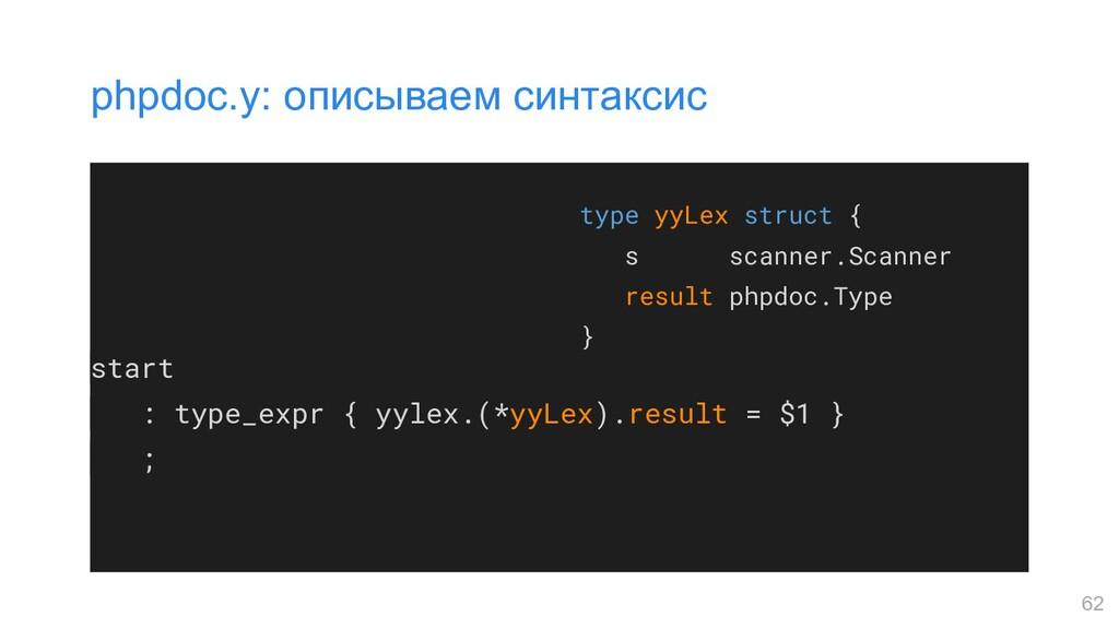 start : type_expr { yylex.(*yyLex).result = $1 ...