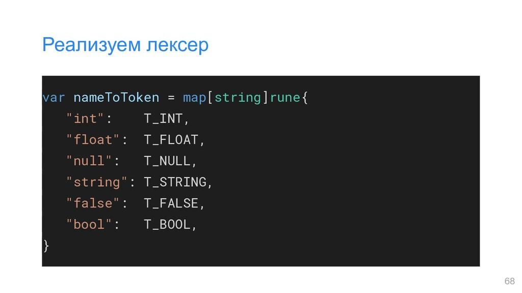 """var nameToToken = map[string]rune{ """"int"""": T_INT..."""