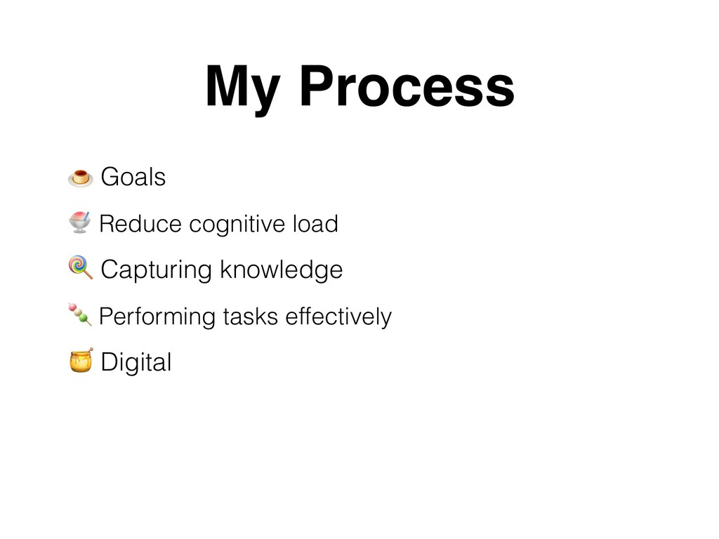 Goals  Reduce cognitive load  Capturing knowle...