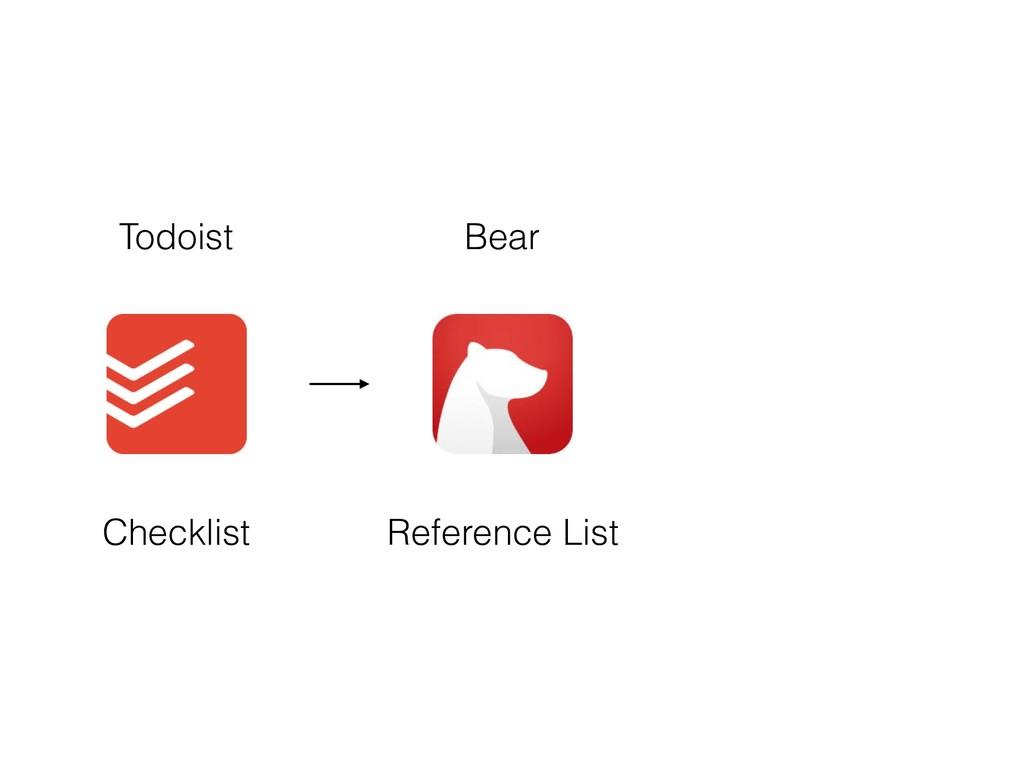 Todoist Bear Checklist Reference List