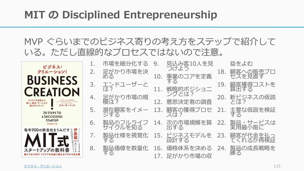 MIT の Disciplined Entrepreneurship MVP ぐらいまでのビジ...