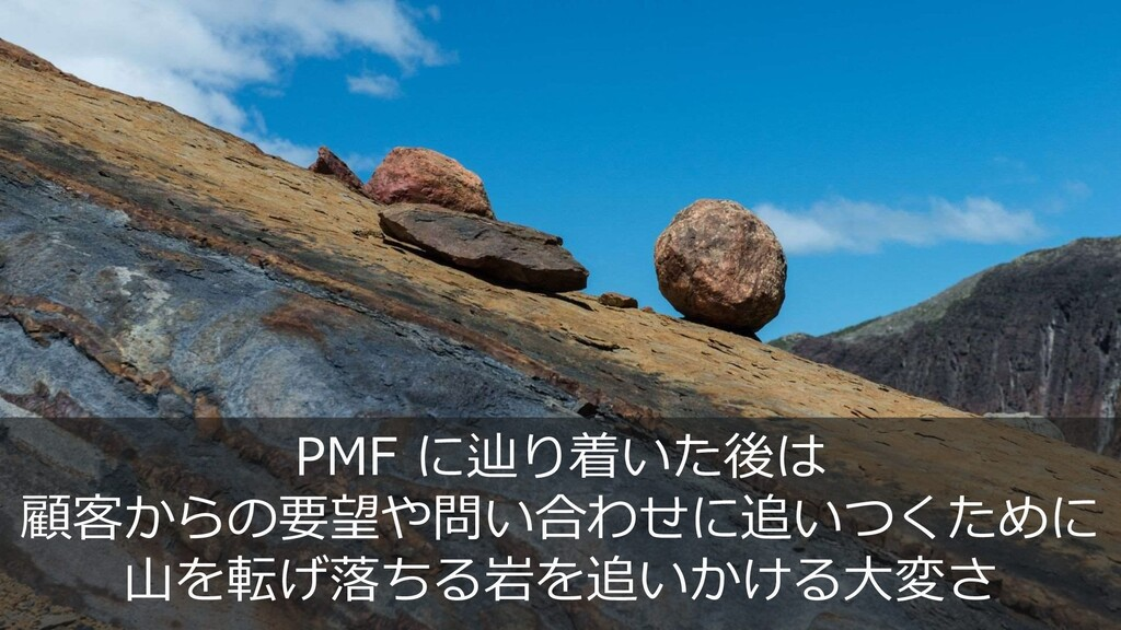 21 PMF に辿り着いた後は 顧客からの要望や問い合わせに追いつくために 山を転げ落ちる岩を...