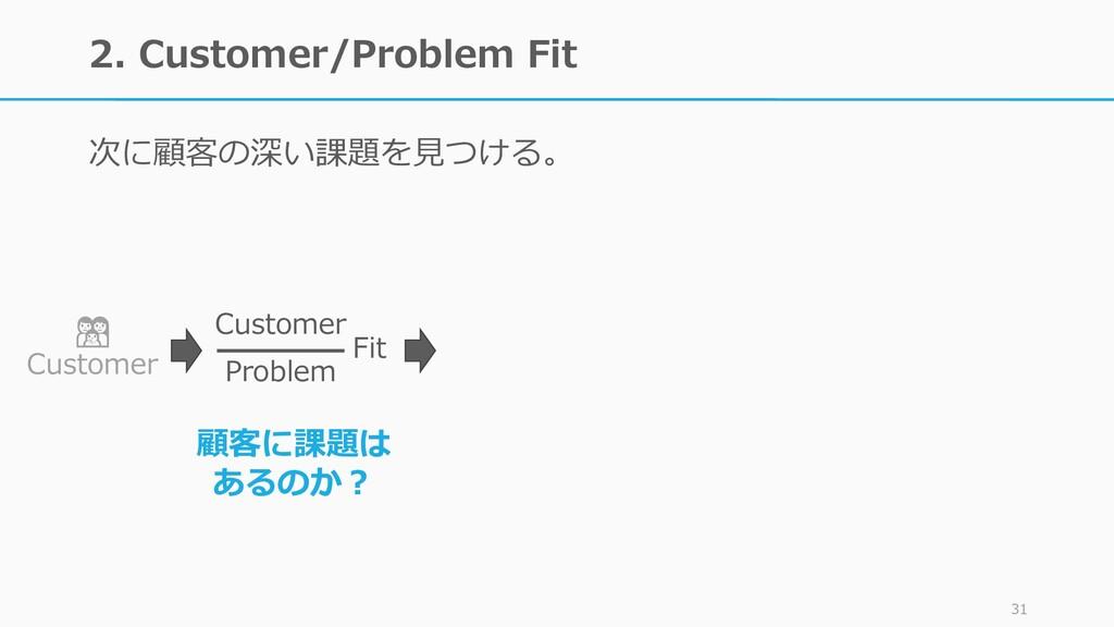 2. Customer/Problem Fit 次に顧客の深い課題を見つける。 31  Cus...