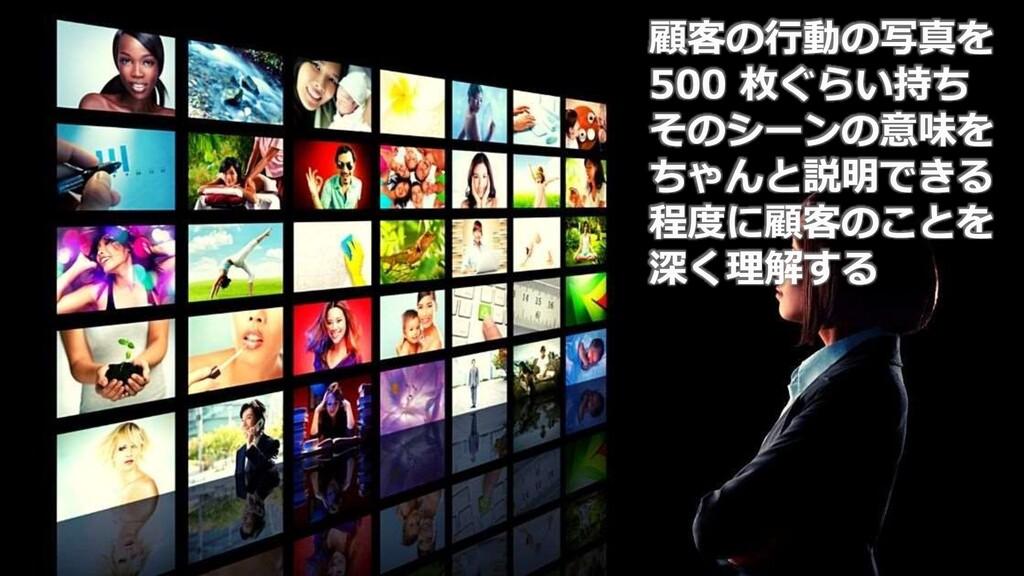 57 顧客の行動の写真を 500 枚ぐらい持ち そのシーンの意味を ちゃんと説明できる 程度に...