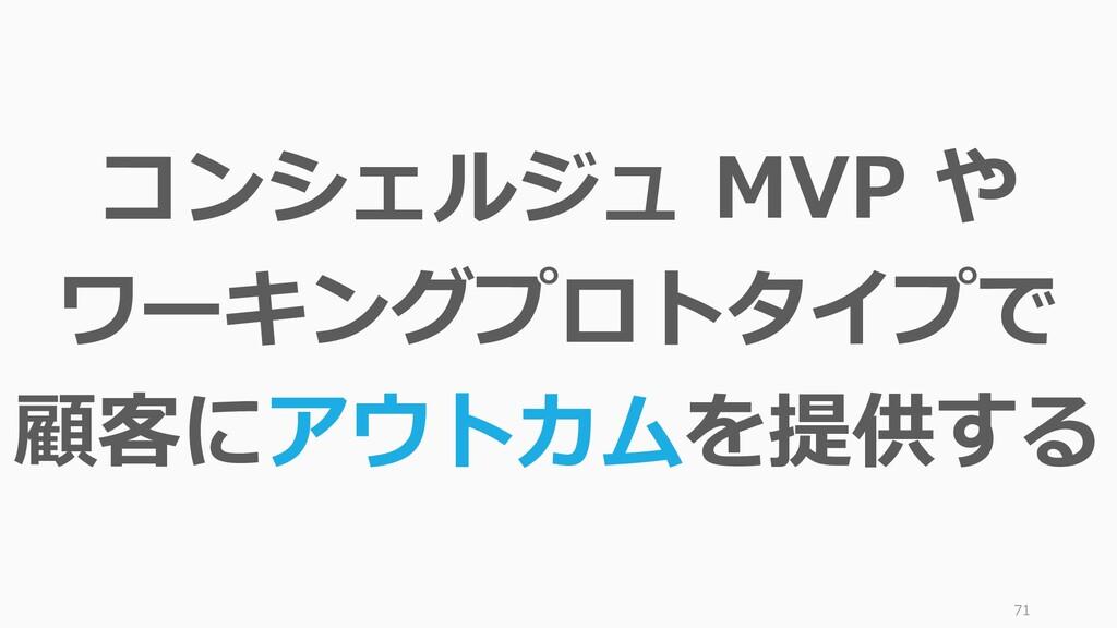 71 コンシェルジュ MVP や ワーキングプロトタイプで 顧客にアウトカムを提供する