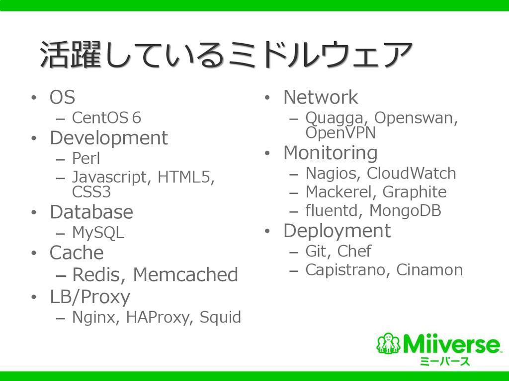 活躍しているミドルウェア • OS – CentOS6 • Development – Per...