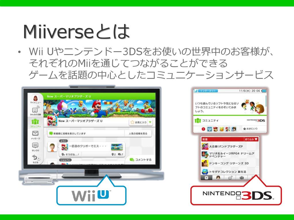 Miiverseとは • Wii Uやニンテンドー3DSをお使いの世界中のお客様が、 それぞれ...