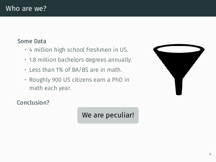 Who are we? Some Data • 4 million high school f...