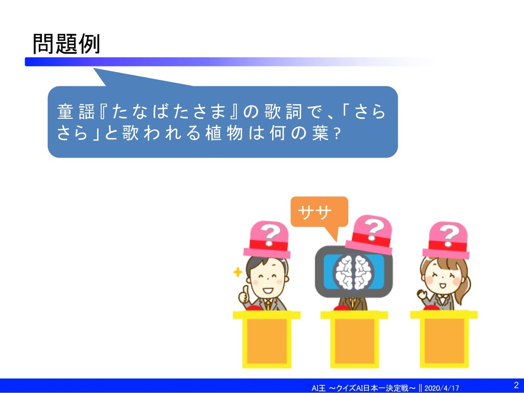 AI王 〜クイズAI日本一決定戦〜 || 2020/4/17 問題例 童 謡 『 た な ば ...