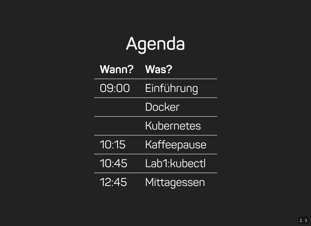 2 . 3 Agenda Wann? Was? 09:00 Einführung Docker...