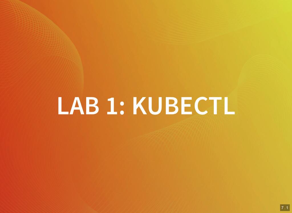 7 . 1 LAB 1: KUBECTL