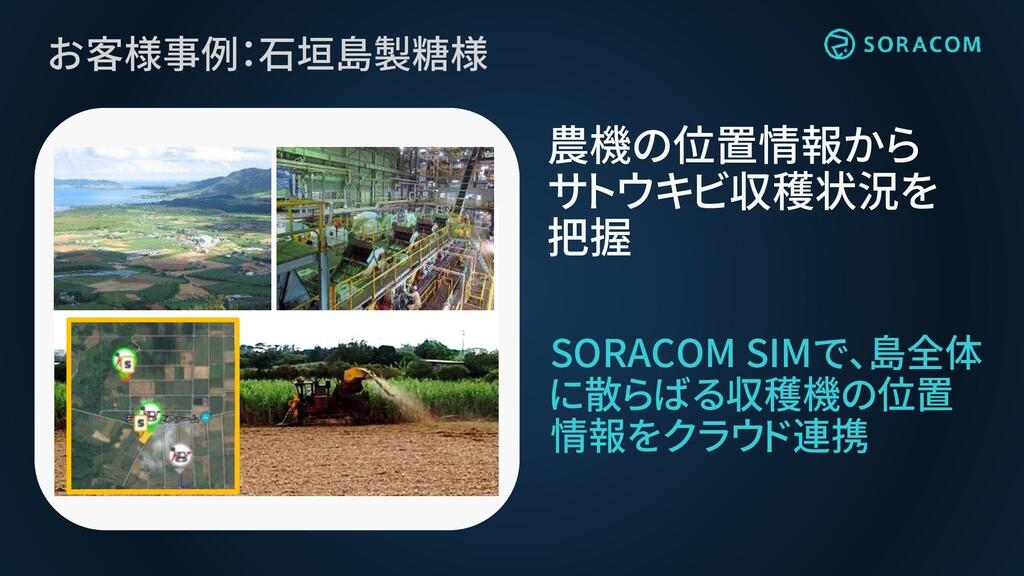 お客様事例:石垣島製糖様 SORACOM SIMで、島全体 に散らばる収穫機の位置 情報をクラ...