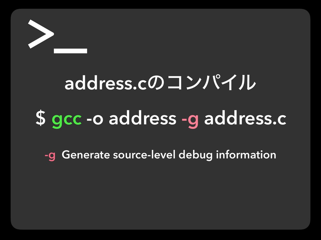 address.cͷίϯύΠϧ $ gcc -o address -g address.c -...