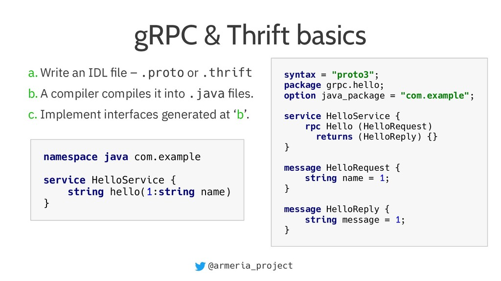 @armeria_project gRPC & Thrift basics a. Write ...