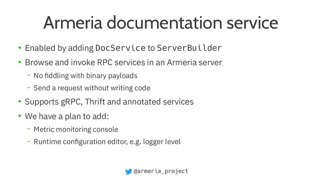 @armeria_project Armeria documentation service ...