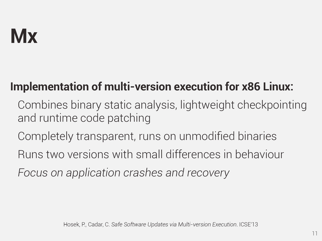 Implementation of multi-version execution for x...