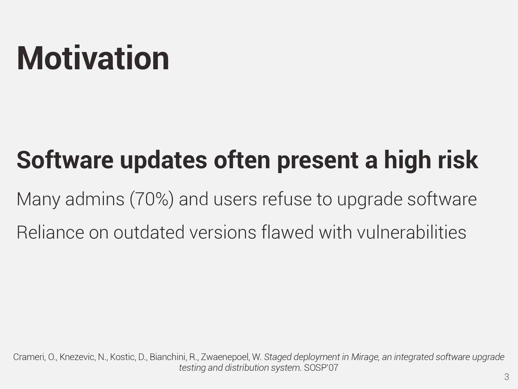 Software updates often present a high risk Many...