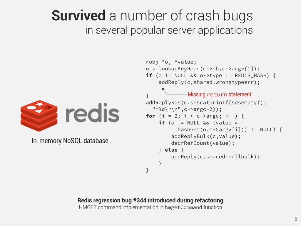 16 Redis regression bug #344 introduced during ...