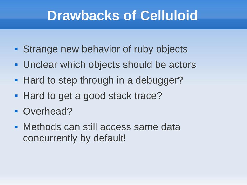 Drawbacks of Celluloid  Strange new behavior o...