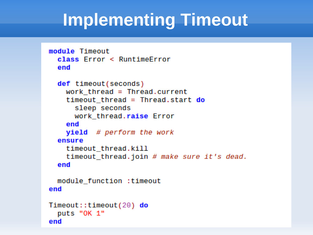 Implementing Timeout