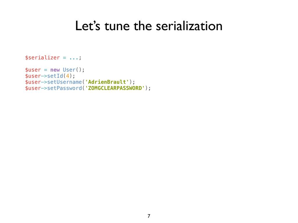 $serializer = ...; $user = new User(); $user->s...