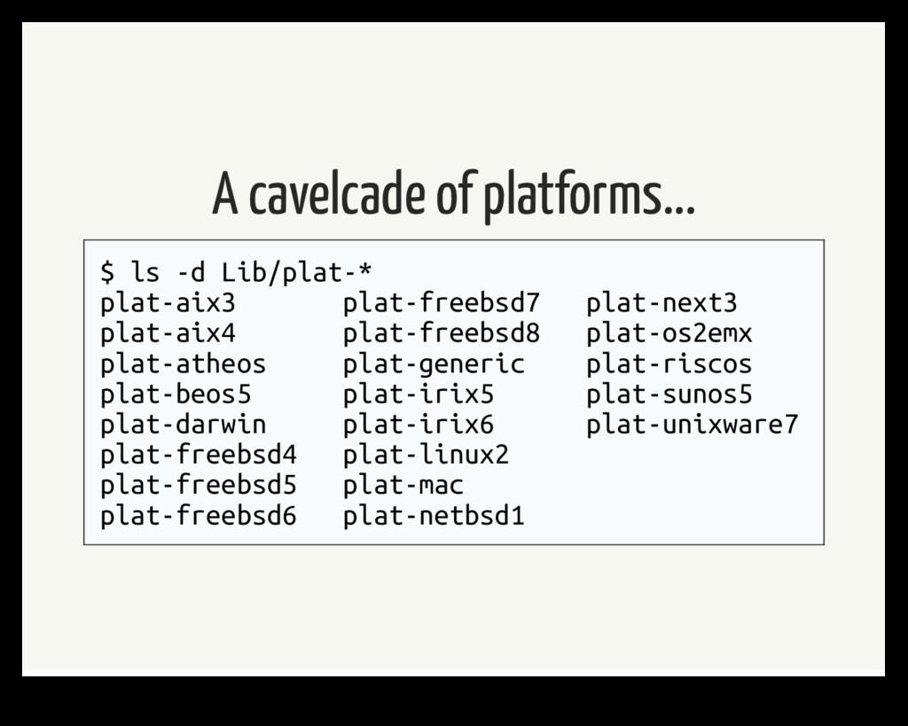 A cavelcade of platforms... $ ls -d Lib/plat-* ...