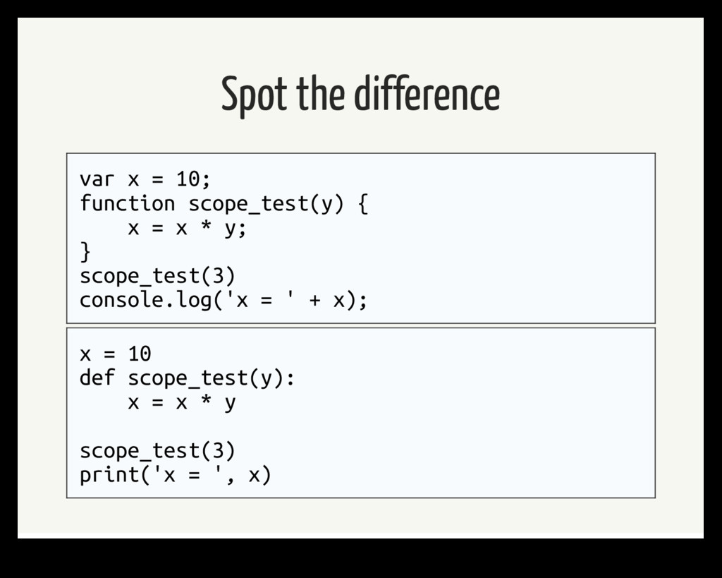 Spot the difference var x = 10; function scope_...