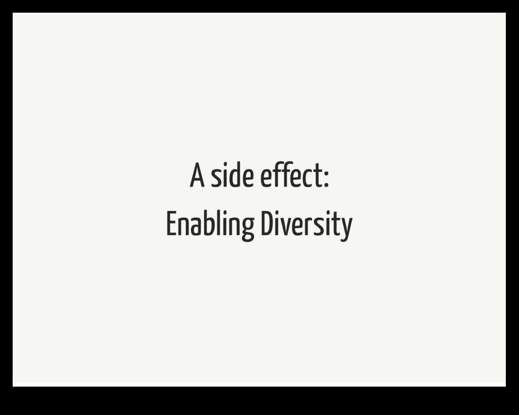 A side effect: Enabling Diversity