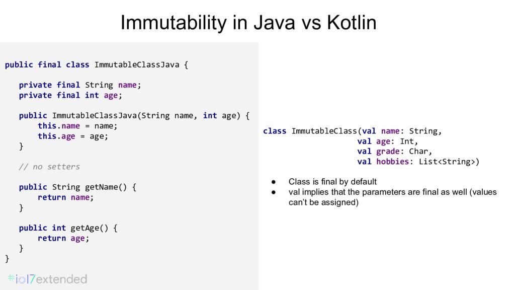 public final class ImmutableClassJava { private...