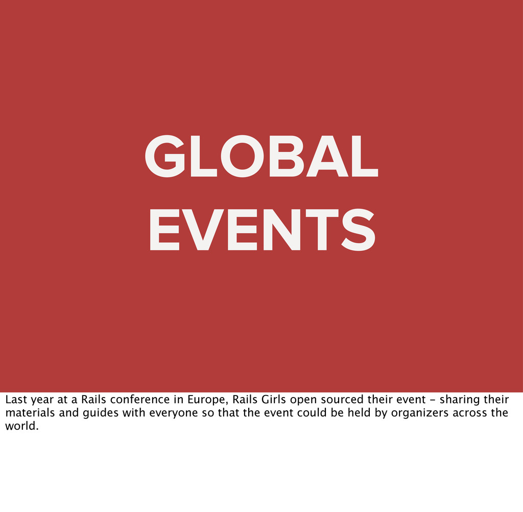 GLOBAL EVENTS Last year at a Rails conference i...